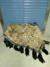 Luxury Lynx Fur Throw Lynx Blanket Bedspread With Silver Fox Outline And Tails