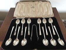 VINTAGE SET OF 12 SOLID SILVER TEA SPOONS & TONGS (SHEFF1938) (SS & T 692)