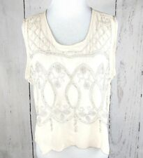 Blush Noir Sheer M Crop Top Sleeveless Embroidered Beaded Sheer Cream Medium BKE