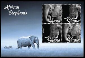 African Elephants, Zebra, Wild Animals Ghana 2014 MNH 4v SS