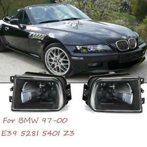 For BMW E39 Z3 1997-2000 Pair Front Bumper Fog Light Lamp Housing Shell Black