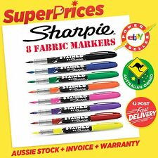 SHARPIE◉8 x BRUSH TIP FABRIC MARKERS STAINED◉BRIGHT◉LAUNDRY CLOTH UNIFORM LINEN◉