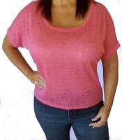 Cute Pink Plus Size Short Sleeve Loose Burnout Shirt Top Tee 1x/2x/3x
