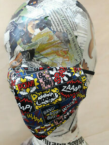 Mascherina moda artigianale tessuto a fumetti tasca per filtri