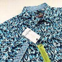 Robert Graham Geometric Blue Short Sleeve Sport Shirt Size Mens Large $178