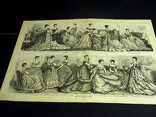 VIctorian Ladies Fashion 1869 BALL & EVENING DRESSES GOWNS Large Folio Print