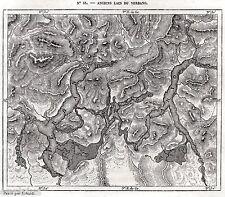 Carta:gli ANTICHI LAGHI DEL VERBANO: LAGO D'ORTA,MAGGIORE,DI LUGANO,DI COMO.1876