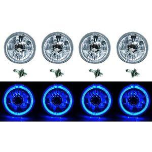 "5-3/4"" Blue LED Halo Halogen Light H4 Bulb Headlight Angel Eye Crystal Clear Set"
