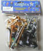 1:32 Knights Horses w Weapons Plastic Toy Solder Figures In Bag