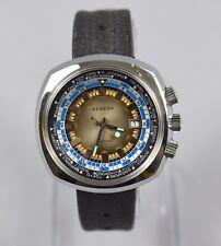 RARE Vintage AURORE Men's World Time Diver Compressor Date Watch RUNS GREAT