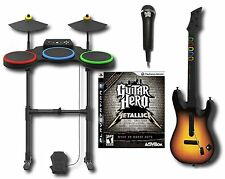 PS3 Metallica Guitar Hero Band Set w/Drums/Guitar/Game/Mic bundle playstation-3