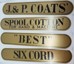 Set of 4 J&P Coats Spool Cabinet Decals stickers sign thread antique vintage old