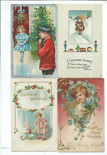 Lot of 4 Christmas Holiday Postcards Xmas tree Doll