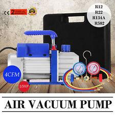 4 CFM 1/3HP Air Vacuum Pump HVAC + R134A Kit AC A/C Manifold Gauge Set