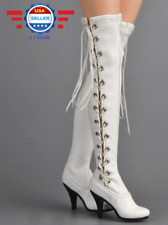 ZY Toys 1/6 White Leather Long Boots w/built in ball pegs for 12'' female figure