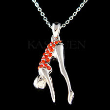Red 3D Swimmer Swim Made with Swarovski Crystal Swimming Necklace Sports Jewelry