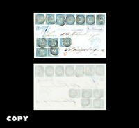 NORWAY  4 skilling 1855   2 horizontal pairs &  strip of 7 cancellations 25 COPY