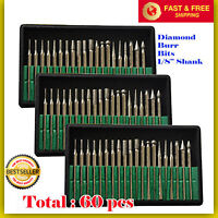 60 Pcs Diamond Burr Bits Drill Set Rotary Multi Tool Accessories Kit For Dremel.
