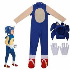 Kids Children Sonic The Hedgehog Jumpsuit Cosplay Costume Fancy Dress Wear Hat