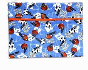 Toddler Pillowcase for Sports Balls on Blue Flannel #F6 New Handmade