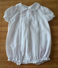 Baby Girls The BAILEY BOYS Sz 6m White Pintuck Pleated Bunny Bubble Romper