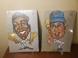 1969 TASCO ERNIE BANKS/Ron Santo CHICAGO CUBS BASEBALL CARICATURES poster