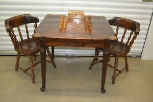 RARE Ethan Allen Antiqued Pine Game Table 2 Chairs Chess Set Old Tavern 12-9012