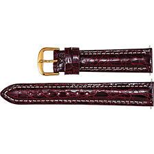 Stuller New Mens Bordeaux Polished Sport Genuine Crocodile 20mm Watch Strap Band