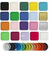 PAPER PARTY PLATES ROUND OR SQUARE SOLID COLOURS CHOICE OF PACK SIZES  sc 1 st  eBay & Solid Paper Party Plates | eBay