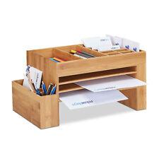 Schreibtisch-Organizer Bambus, Aufbewahrungsbox Briefablage groß für Utensilien