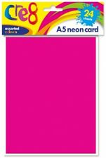 24 SHEETS OF A5 MIXED NEON COLOUR CARD PINK YELLOW GREEN ORANGE 200gsm ART CRAFT