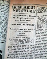 """Charlie Chaplin """"City Lights"""" Opening Day Film Debut Ad & Review 1931 Newspaper"""