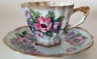 Vintage Marco Fine China Tea Cup & Saucer Opalescent Blue Floral w/Gold Trim