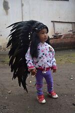 Headband For Kids Hat Feather Native Indian Headdress Warbonnet Black Handmade