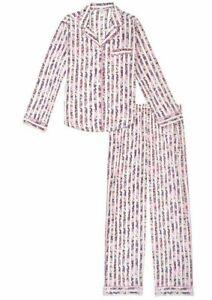 Victoria Secret Cotton Long Pajama PJ Set Floral Stripe Logo women's lightweight