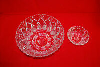 Set of 2 Vintage 1950's French Prescut Clear Crystal Pineapple Glass Bowls S7571