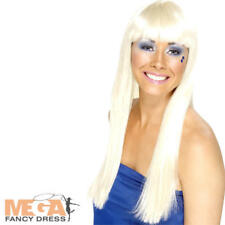Long Dancing Queen Ladies Wig 70s 1970s Celebrity Popstar Band Costume Accessory