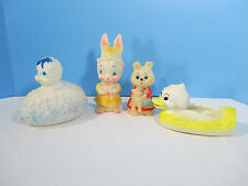 Squeaky Toys Vintage 1960s Easter Bunny Duck Egg Holland Dreamland Lot of 4