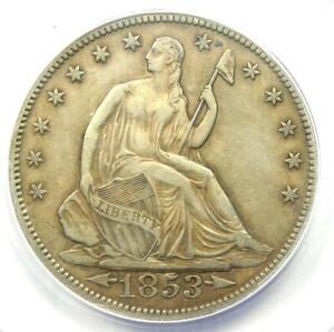 1853 Arrows & Rays Seated Liberty Half Dollar 50C - ANACS XF40 - Rare Date Coin