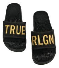 True Religion Men's Gold Metallic TR Slide Sandals in Black