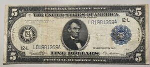 1914 $5 Federal Reserve Note of San Francisco, C Large Size Federal Reserve Note
