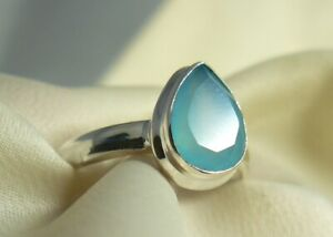 Blue Chalcedony Sterling Silver Ring Faceted Teardrop gemstone Child Size to s 8
