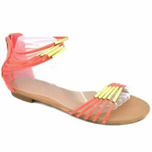 Ladies Womens Gladiator Sandals Beach Summer Shoes Size UK 3 EU 36 LS1003 Coral