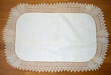 VINTAGE IVORY RUNNER CENTERPIECE LONG HAND KNIT EDGING COTTON DINING TABLE RUNER