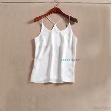 Womens silk Satin Camisole Cami Plain Strappy Vest Top Sleeveless Blouse Tank
