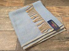 Blue & Beige Herringbone Tweedmill Textiles PURA LANA BABY CARROZZINA LETTINO COPERTA