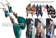 50 Alpaca Silver Earrings with Semi-Precious Stone