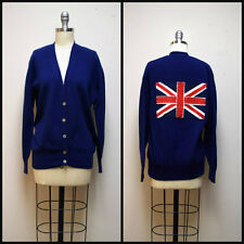 MAYSON GREY Blue Boyfriend Cardigan Sweater w Hand Appliqued Union Jack Flag ~ M