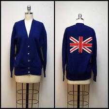 MAYSON GREY Blue Boyfriend Cardigan Sweater w Hand Appliqued Union Jack Flag ~ M