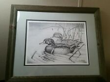 W. Langlois wood duck print. 89/300. Driftwood framed and matted. 1980's.